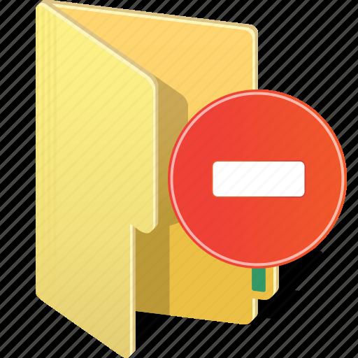 close, delete, directory, folder, hide, minus, remove icon