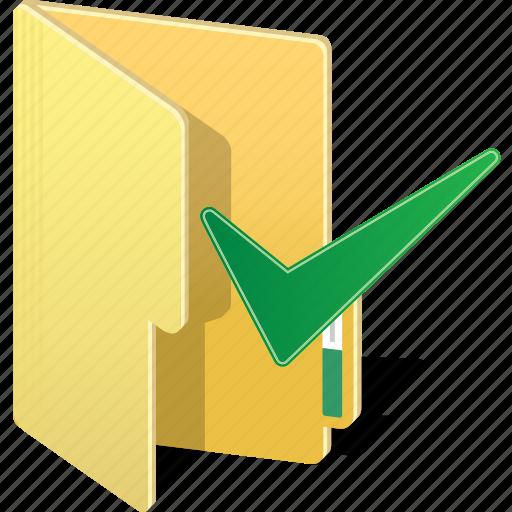 correct, directory, file, folder, ok, tick, true icon