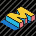 3d alphabet, 3d font, 3d letter, 3d m, 3d text icon