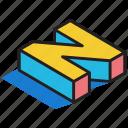 3d alphabet, 3d font, 3d letter, 3d n, 3d text icon