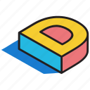 3d alphabet, 3d d, 3d font, 3d letter, 3d text icon