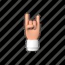 rock, hand, on, gesture