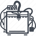 three d, printer, three d printer, print, printing icon