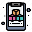 3d, clipboard, cube, geometric icon