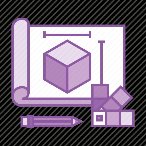 2, 3d, blueprint, cube, design, dimension, model, plan, project icon