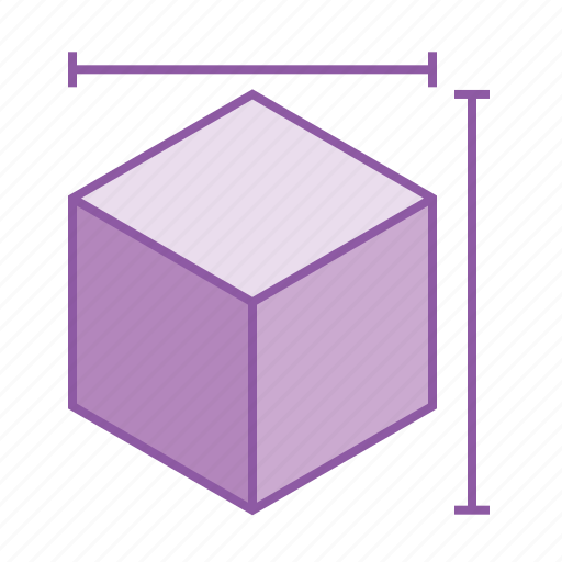 3, cube, design, dimension, geometry, height, measurement, width icon