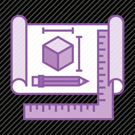 3d, blueprint, cube, design, dimension, plan, project icon