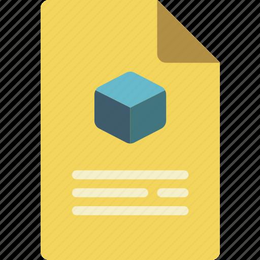 document, print, printing, shape, sheet, three dimensional icon
