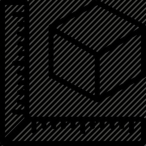 measure, print, printing, shape, three dimensional icon