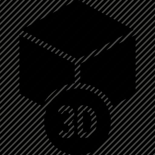 cube, print, printing, shape, three demensional icon