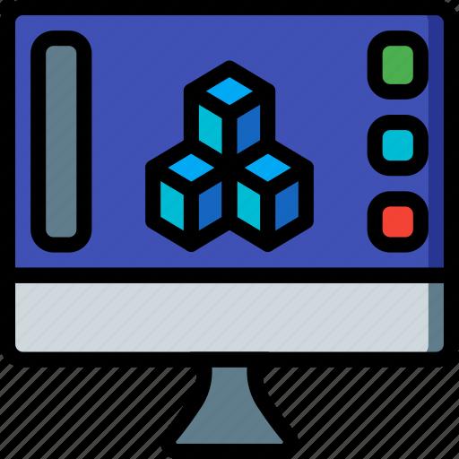 print, printing, shape, software, three demensional icon