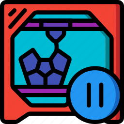 paused, print, printer, printing, shape, three demensional icon