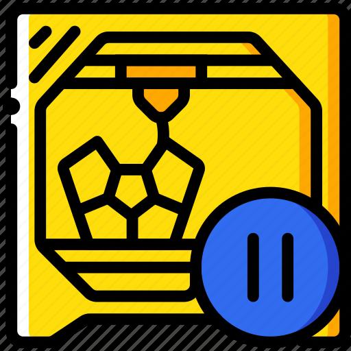 paused, print, printer, printing, shape, three dimensional icon