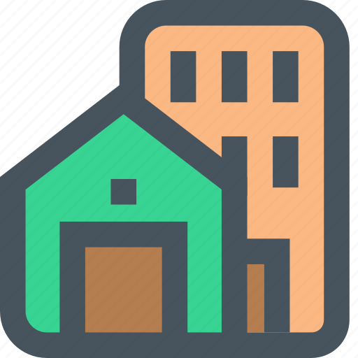 architecture, building, estate, home, house, office, real icon