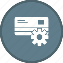 card, gear, optimization, payment settings, settings icon