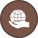 business, finance, global hand, globe, hand icon