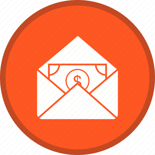 cash, email, envelope, letter, message, receiving icon