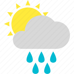 cloud, drops, heavy, shower, sun, weather icon