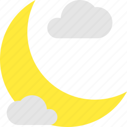 clouds, crescent, forecast, intermittent, night, weather icon