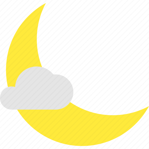 clear, crescent, less, mostly, night, weather icon