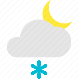 cloudy, crescent, flurries, mostly, night icon