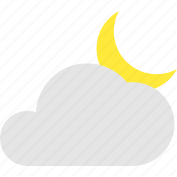 cloud, cloudy, crescent, mostly, night, weather icon