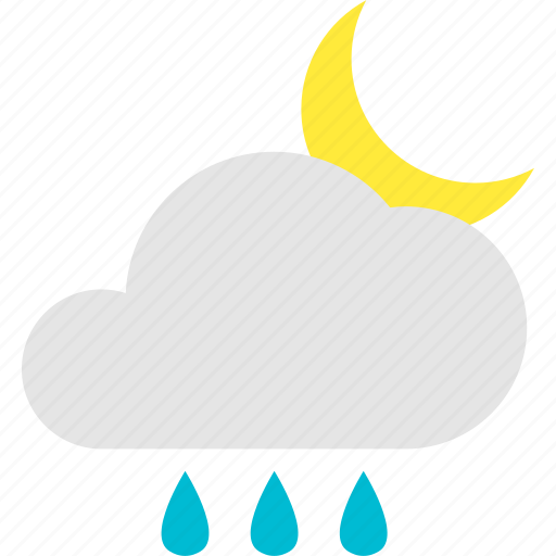 cloudy, crescent, mostly, night, normal, shower, water icon