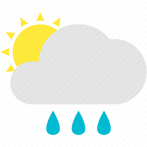 cloudy, drops, mostly, shower, sun, water, with icon
