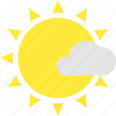 clouds, less, mostly, sun, sunny, warm icon