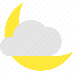 clear, cloud, condition, crescent, partly, weather icon