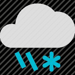 cloud, flurries, rain, rainy, snow, weather icon