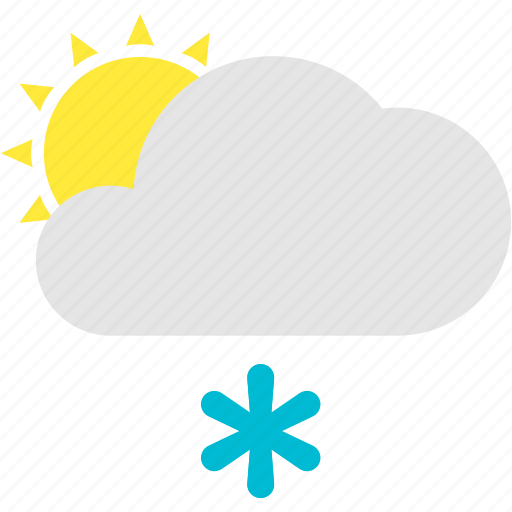 cloud, flurries, forecast, sun, weather icon