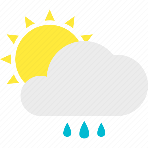 afternoon, cloud, drop, light, shower, sun, water icon