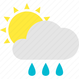 afternoon, cloud, pleasant, shower, showers, sun icon