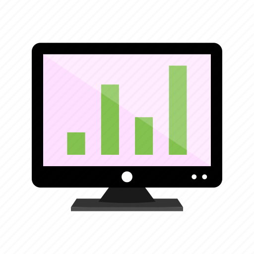 analytics, display, graph, lcd, screen, statistics icon