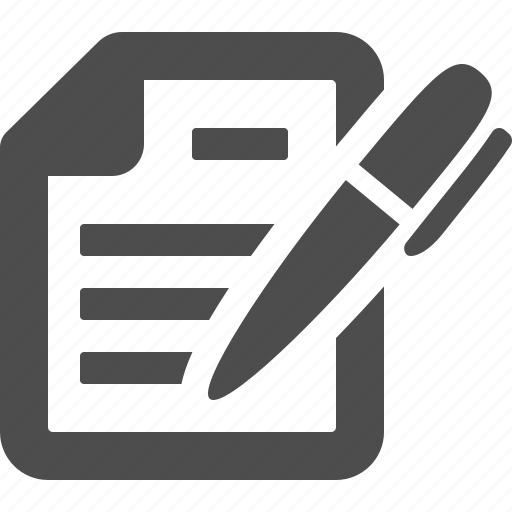 contract, document, file, paper, pen, writing icon