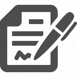 contract, document, file, pen, signature, signing, writing icon