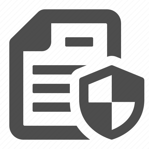 document, file, page, protected, security, shield icon