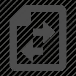 arrows, data exchange, document, exchange, file icon