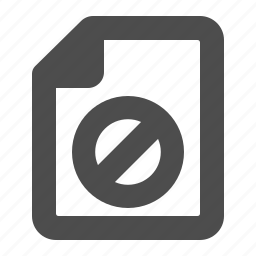 blocked, closed, denied, document, file, restricted, warning icon