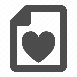 bookmark, document, favorite, file, heart, love, love letter icon