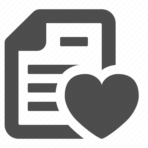 bookmark, document, favorite, file, heart, love, love letter icon