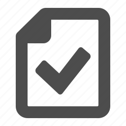 check sign, documents, file, page, paper, sheet, verified icon
