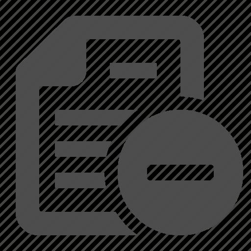 button, delete, document, file, minus, remove, substract icon