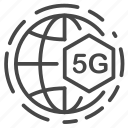 5g, global, internet, signal, world, connection icon