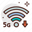 decresed, device, electronic, signal, speed, technology icon