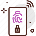 device, electronic, fingerprint, security, signal, technology icon