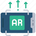 ar, increase, augmented, reality, mobile, cell, phone icon