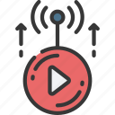 fast, live, stream, speed, video, playback, good icon