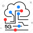 5g, circuit, cloud, network, service icon